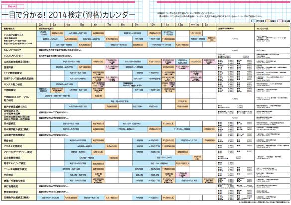 2014 検定(資格)カレンダー  *拡大版は下の「PDFファイルを見る」ボタンからご覧ください